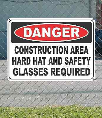"DANGER Construction Area Hrad Hat & Safety Glasses - OSHA Safety SIGN 10"" x 14"""