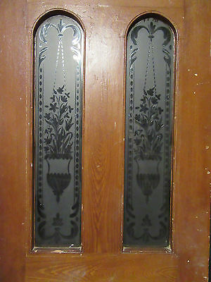 ~  Antique Door With Wheel Cut Etched Glass 35 X 90 ~ Architectural Salvage ~