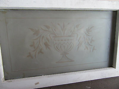 Antique Wheel Cut Etched Glass Transom Window 34 X 21 ~ Architectural Salvage ~