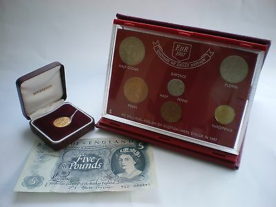 1967 Gold Sovereign Coin & £5 Note set 50th Birthday or Wedding Anniversary Gift