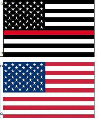 2Pk Thin Red Line & USA Flag 2x3 Ft Firefighters Courage America Fire Department