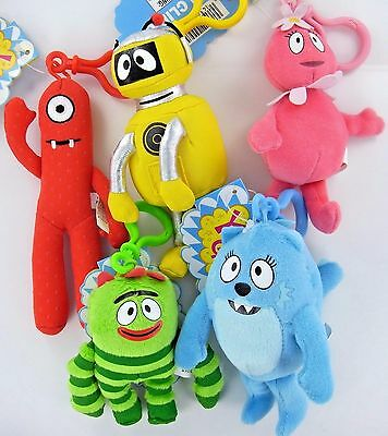 SET of 5 Yo Gabba GABBA Plush Clip-On Toys Lot Brobee Muno Plex Toodee Foofa NEW