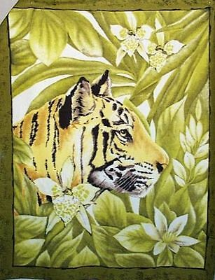 Home Decor' Tiger Head in Green Fleece Wall Hanging or Blanket Panel NEW
