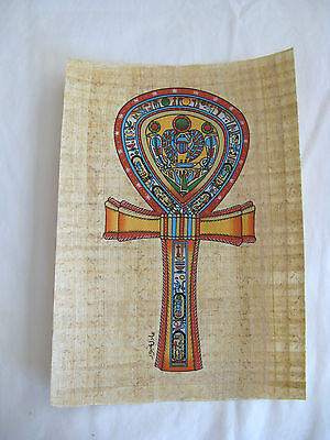 """Egyptian Papyrus Paper Handmade Painting Ankh """"Key Of Life"""" 9""""X13"""""""