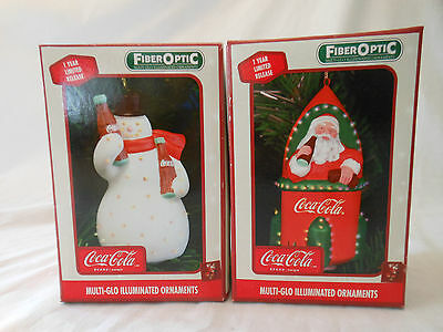 COKE coca cola ornaments FIBER OPTIC lot of 2 2003 1ST EDITION 1 YEAR ONLY