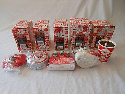 COKE coca cola ornaments SPECIALS TODAY lot of 5 BEAR BOTTLE DISK CAP 6 PACK 97