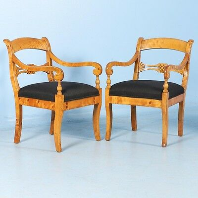 Pair of Antique 19th Century Swedish Birch Armchairs, circa 1890