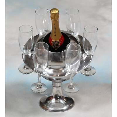 H&h... Polished Aluminium Saturn Ice Bucket / Champagne Cooler