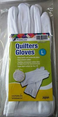 Matilda's Own Stretch Cotton Quilter's Quilting Gloves Rubber Dots White Large