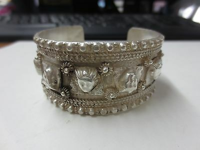 Antique Middle Eastern Egyptian Themed Silver Cuff Bracelet Sphinx