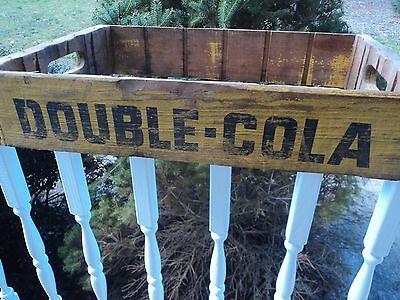 Double Cola Crate Yellow/Black Soda Pop Wooden Reidsville NC - FOR PARTS NO BASE