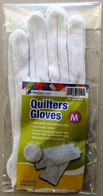 Matilda's Own Stretch Cotton Quilter's Quilting Gloves Rubber Dots White Medium