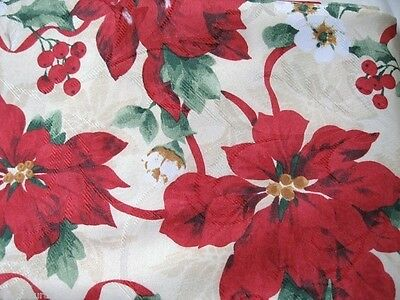 RED POINSETTIA FLORAL 60 x 84 102  Ribbons Christmas Holiday DAMASK Tablecloth