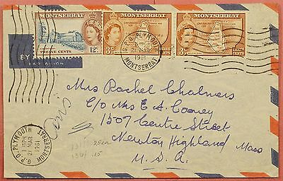 1961 Montserrat Tri Franked Airmail Cover  Plymouth Cancel  To Usa
