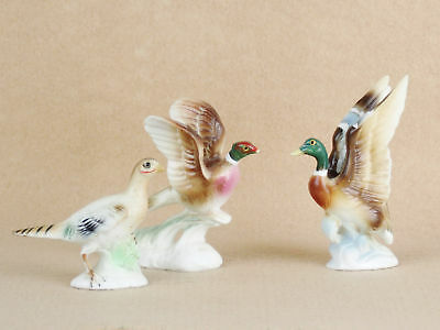 Vintage Bone China PHEASANT PAIR & MALLARD DUCK Miniature Figurines