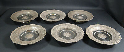 VINTAGE PERSIAN FINE SILVER 6x ENGRAVED FOOTED DISH SAUCER SET PLATES 1240gr.