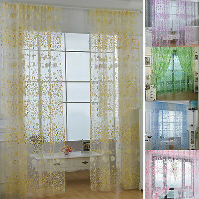 Door Window Curtain Floral Tulle Voile Drape Panel Sheer Scarf Valances Fashion