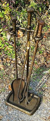 Vintage Antique Arts & Crafts Deco Hammered Iron Fire place Tool Set Stand