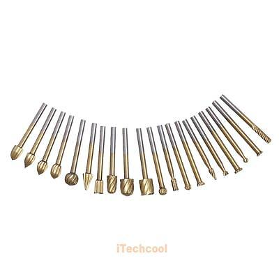 20x HSS Routing Router Grinding Bit Burr Speed Kit For Rotary Dremel Cutter Tool