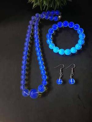 AAAAA Dominican Sky Blue Amber Bead Sphere Ball Suit Necklace