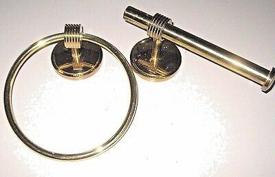 VINTAGE Gatco Solid BRASS BATHROOM Wall Mount TOWEL RING & Toilet Paper Holder