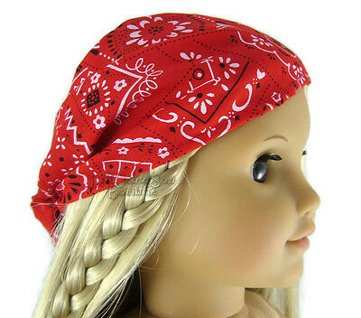 "Doll Clothes fits 18"" American Girl Red Bandana Hat Head Scarf Accessories"
