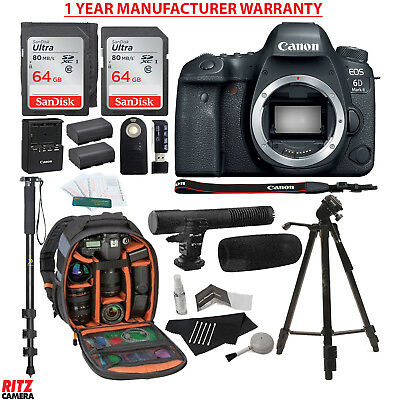 Canon EOS 6D Mark II DSLR Camera Body + Lexar 64GB + Backpack and Accessories