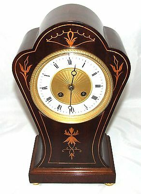 S Marti PARIS Antique Inlaid Mahogany Bracket Mantel Clock CLEANED & SERVICED
