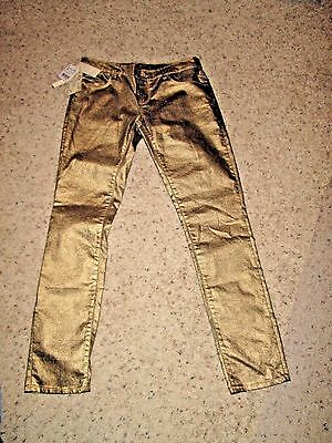 Nwt* Women's Gold Colored Zara Women Premium Denim Wear Collection * 6 * Slim