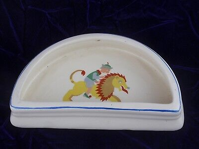 Antique English Tunstall Half Dome Baby Childs Dish Rare Shape Lion