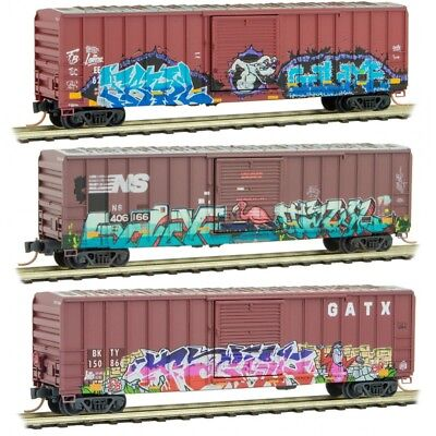 Micro-Trains MTL N-Scale 50ft Box Cars Weathered/Animal Graffiti - Runner 3-Pack