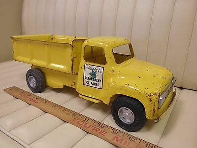 "1964 BUDDY L ""Department of Parks"" Dump Truck Pressed Steel Toy"