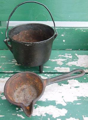 Antique Footed Cast Iron Pot Smelting Cauldron Pour Ladle Metal Working  #5