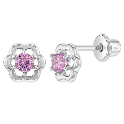925 Sterling Silver CZ Flower Earrings Screw Back for Babies Toddlers Kids
