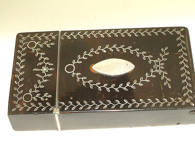 Antique  T Shell & Silver Inlaid Card Case