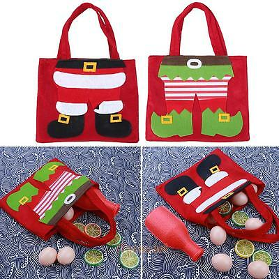 Christmas Santa Claus/Elf Trousers Decoration Xmas Gift Bag Candy Pouch Stocking