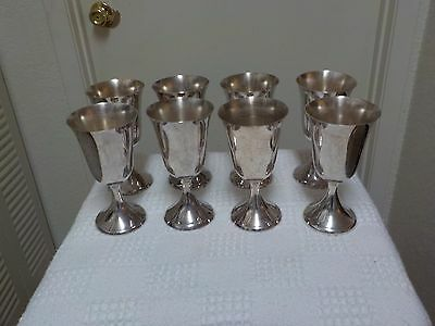 SET OF EIGHT VINTAGE F B ROGERS  Silver Plated Water Wine Goblets EXCELLENT