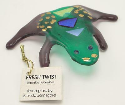 Brenda Jamsgard Fresh Twist Fused Glass Green and Purple Frog