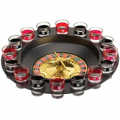 Drinking Roulette Wheel 16 Shot Glasses Party Game Casino Gambling Gaming New