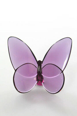 Baccarat Purple Crystal Lucky Butterfly New In Box