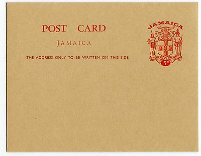 JAMAICA POSTCARD 5c COAT OF ARMS, VERY CLEAN                            (G646)