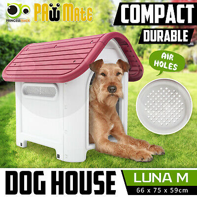 Pet Dog Kennel Weatherproof Plastic Outdoor Indoor Garden House MEDIUM PK