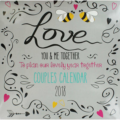 Couples 2018 Wall Calendar with Envelope, Stationery, Brand New