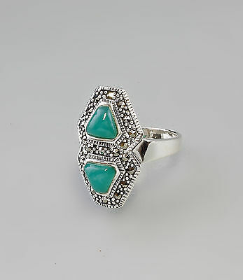 a8-27377 Green Agate Marcasite-Ring 925 Silver