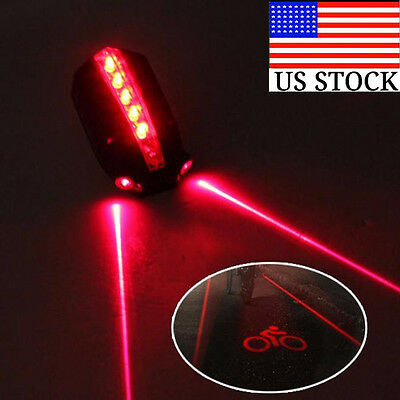 2 Laser+5 LED Rear Bike Bicycle Tail Light Beam Safety Warning Red Lamp Lights