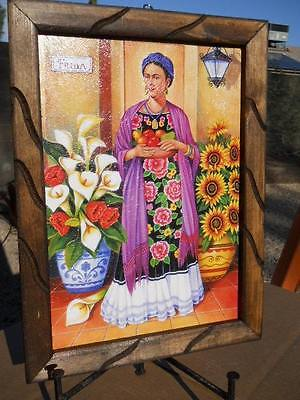 Calli lilly Frida Kahlo flowers painting Southwest Mexican pottery folk art NEW
