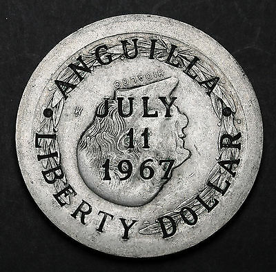 1967 Anguilla Liberty Dollar Counterstamp on Mexico 1952 5 Pesos  RARE