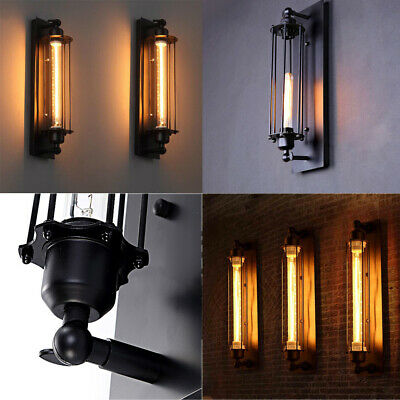 Vintage Industrial Metal Cage Wall Lamp Sconce Light Edison Porch Flute Fixture