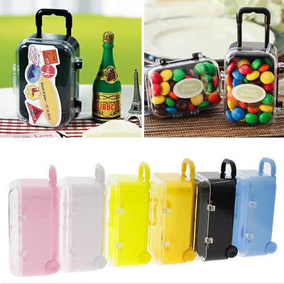 Mini Rolling Travel Suitcase Box Reception Candy Toys Wedding Favors Party Decor