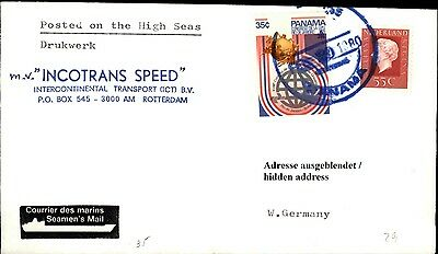 Schiffspost Schiff INCOTRANS SPEED 1980 mit Paquebot Brief mit Panama Briefmarke
